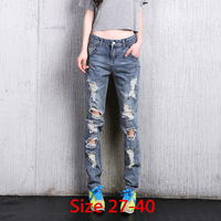 2014  New Cotton Jeans Women Loose Mid Waist Washed Vintage Retro Big Hole Ripped Long Denim Slim Straight Pants 26-40 5Xl 6Xl