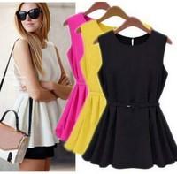 Chiffon Sleeveless Blouses & Shirts Chiffon Vest Top Tank Slim Vogue Trend Blouse Q0044