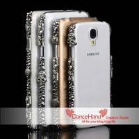 Bling Punk Metal Skull Crystal Frame Bumper Transparent Case For Samsung Galaxy Note 4 N9100