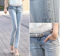 New 2015 Women's Pants Fashion Pencil Pants Leggings Stonewash Denim Skinny Stretchable Faux Jeans Free shipping Plus size 26-30