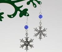 50 Pair Fashion Antique Silver Cute Snowflake &Blue Opal Bead Vintage Charms Dangle Earrings 925 For Woman DIY Jewelry L603