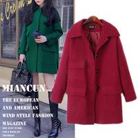 Women Autumn spring winter Oversize Pockets warm Wool Casual long Coat Jacket overcoat green wine red M L XL XXL XXXL big size