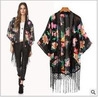 Long Womens Kimono Jacket Coat 2014 New Loose Floral Printed Chiffon Cardigan with Tassel for Ladies Outwear Jaqueta Feminina