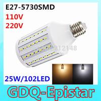 Free shipping 1x 25W 102LED 5730 SMD E27 Corn Bulb Light Maize Lamp LED Light Bulb Lamp LED Lighting Warm/Cool White