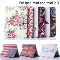 Fashion Flower USA UK flag Wallet with Card Slot Pu leather stand holder Cover Case For ipad mini 3 Retina mini 2 new mini3
