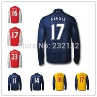 Free Custom All Players 14/15 Home Away 3rd Third Long Sleeve Full Soccer jersey S.CAZORLA ALEXIS GIROUD OZIL RAMSEY ROSICKY