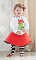 6set Children girl's Christmas tree princess long-sleeve top+short skirt pant 2-piece/set 17097