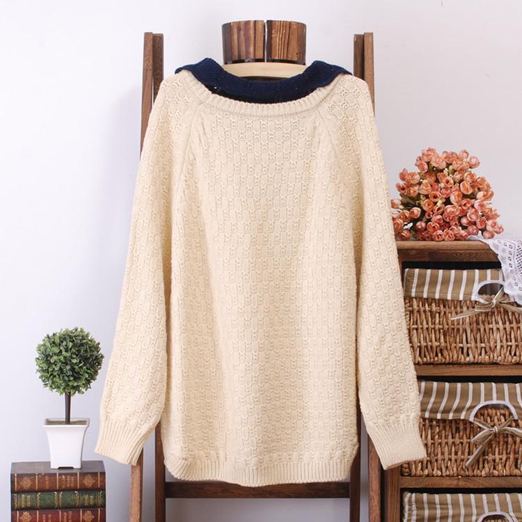 2014 autumn and winter doll collar pullover Korean women loose bat raglan sleeves knit sweater jacket wholesale(China (Mainland))