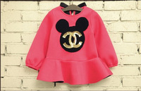 2014 New Arrival Winter thicken Flouncing& Big Bow-Knot Crony &Long-Sleeved Cartoon Girls Dress 2 Colors Free Shipping GQ-422