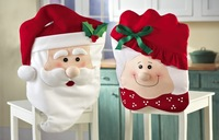 2014 new hot sale wholesale Mr & Mrs Santa Claus Christmas Kitchen Chair Covers,dinner chairs covers ,Banquet Chair covers