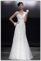 white Tulle Applique Mermaid Wedding Dress custom size