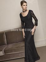 RE0.5 sequined cap sleeve boat neck long sleeve black mermaid evening dress 2015 vestido de festa