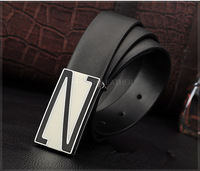 Classic Genuine Leather Black Belt for Men #K015,  New 2014 Classic Fashion two colors Quality Cow Slip Metal Alloy