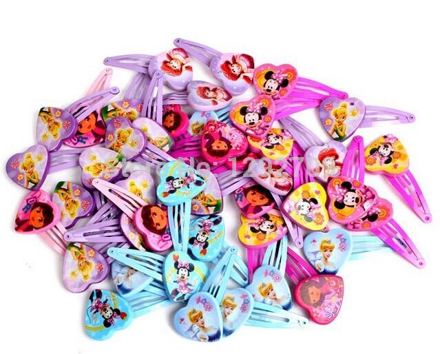 100pairs 200pcs Cartoon Children Princess Hair Pins Minnie Mouse Tinkerbell Princess Dora Multiple Designs Girl Hair Clips(China (Mainland))