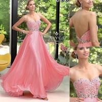 2014 Sexy Pink Sweetheart A-line Rhinestone Chiffon Prom Dress Low Back Zipper E274