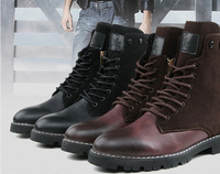 2014 New Arrival Fashion Korean Men's Warm PU Leather High-Top Martin Boots 2 Colors XMX156