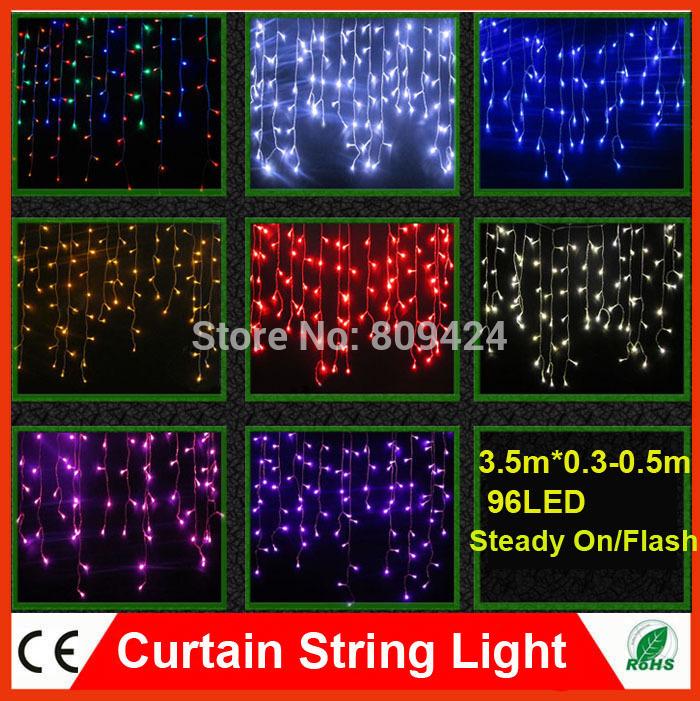 DHL 3PC Christmas LED Wavy Curtain String Lights 96 LED 3.5m Droop 0.3M-0.5m 220V Xmas Garland New Year Decoration Light(China (Mainland))