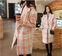 2014 Autumn And Winter New Korean Version Of The Women's Woolen Coat Pink Plaid Wool Coat Lapel Was Thin Woolen Coat Female