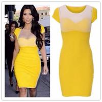 summer dress 2014 Yellow Short Sleeves Mini Dress with Leotard sweetheart neck Mesh Top celebrity dresses formal roupas meninas