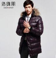 HOYANP Brand 2014 New men long down jacket Hight quality winter coat men, Down parka men with Fur Collar, L-4XL, Free Ship!!