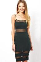 ladies summer dress 2014 Black Spaghetti straps Midi Dress with Mesh Insert vestidos casual free shipping