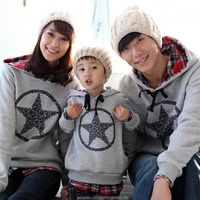 Free Shipping!Family fashion autumn hoodies set sweatshirt thickening clothes for mother and son