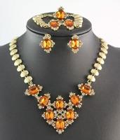 Wholesale Champagne Stone Vintage Dubai 18k Gold Plated Charm Crystal Fashion Necklace Wedding Rhinestone Jewelry Sets HYC-A57