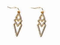 New 2014 Fashion Jewelry luxury with rhinestone geometric pendant earrings for women Free Shipping JZ102706
