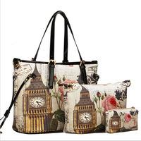 Hot women handbag 2015 women messenger bag picture bags female fashion print oil painting shoulder bag women patent leather bag