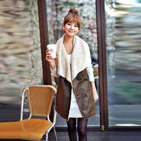 Hot Sales Winter Women Lady Leisure Fashion Warm Faux Fur Collar Vest Long Leather Waistcoat Coat Outerwear Brown