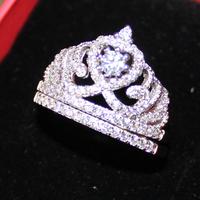Diamonique 925 Silver Filled White Sapphire CZ Pave Set Crown Wedding Couple Ring Set Women's Jewelry