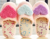 Plush cute 1 pair cartoon super soft sweet heart winter warm home floor slippers children holiday toy girl women gift