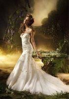 elegant mermaid sweetheart organza applique lace up wendding dress size custom