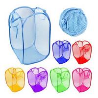 W424 T factory direct supply large mesh storage storage hamper multi-colored clothes basket folding hamper