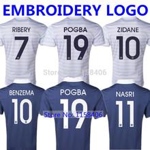 POGBA France Jersey 2014  World Cup Soccer Jersey France Football Shirt RIBERY Home Blue GIROUD ZIDANE Away BENZEMA White NASRI(China (Mainland))