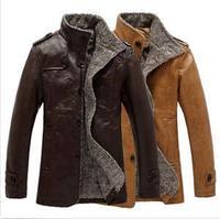 New High Quality Faux Fur Ruen-down Collar Fashion Solid Color Zipper Leather Jackets Coat for Men PLus Size