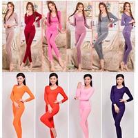2014 Top sale! Women's warm underwear set Body Suit Fashion O-Neck Wave Edge Long Tight Slimming set Wholesales
