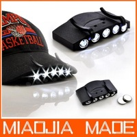 Free shipping 15pcs /lot 5 LED Outdoor Fishing Camping Hunting Cap Hat Clip On Lamp Light 2 Batteries wholesale