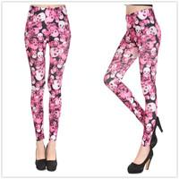 2014 Jogar a calcinha Women Sexy Rose Skull Printing Leggings Fashion spandex Pants Polainas Free Shipping