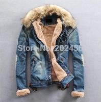 Free shipping 2014 New Winter Men Clothing Jean Coat outwear Fur Collar Denim Jacket men's coat jackets men jacket winter S- 3XL