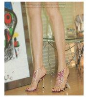 Banquet evening dress rhinestone shoes high thin heels sexy sandals luxury rhinestone rose wedding shoes female summer