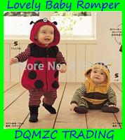 2014 new arrival lovely animal hooded baby romper cotton with fine floss full sleeve  honeybee ladybug mzc5006