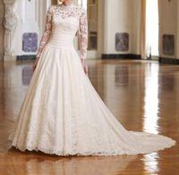 Long Lace Sleeves High collar Wedding Dresses  Custom Size