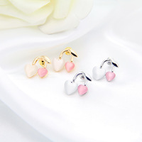 2014 Fashion Jewelry Korean Pink Heart-shaped Cherry Upscale Small Stud Earrings for Girls DP-373