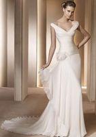Sexy  V-neck Chiffon Wedding Dress  Custom