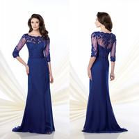 Fashion And Elegant Royal Blue 3/4 Sleeves Lace Appliqued Mermaid Mother Of The Bride Dress Vestido Mae Da Noiva E272