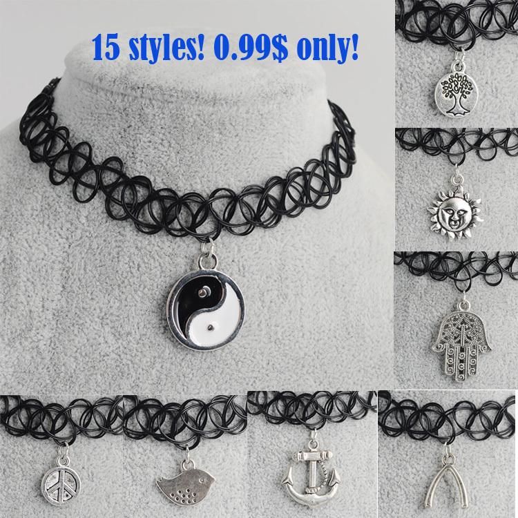 Artilady 15styles tattoo chokers necklace fashion yin yang cross tree of life necklace women jewelry wholesale christmas gift(China (Mainland))