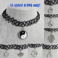 Artilady 15styles tattoo chokers necklace fashion yin yang cross tree of life necklace women jewelry wholesale  christmas gift