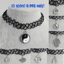 Artilady 15styles tattoo chokers necklace fashion yin yang cross tree of life necklace women jewelry wholesale  christmas gift