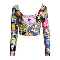 Womens Tops Women Cartoon Adventure Time Lumpy Space Princess Navel Long Sleeved Tank Up T shirt Printed Crop Top